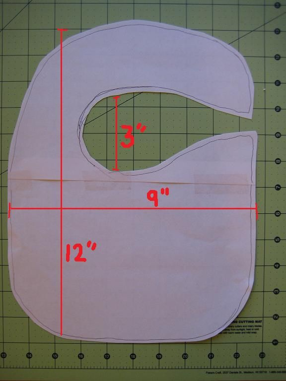 Six easy steps below.    Materials for 1 Baby Bib:  1 fat quarter (front of bib)  ½ yard terry cloth (back of bib)  velcro (at least 3 inches)  steam-a-seam strip (at least 5 inches)  Coordinating thread  Step 1 – On scrap paper, create a baby bib pattern and then cut it out. Below are the dimensions of the pattern I used.