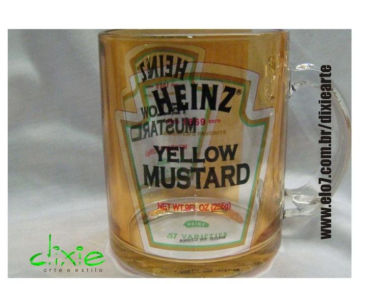 Caneca Mostarda Heinz  www.elo7.com.br/dixiearte