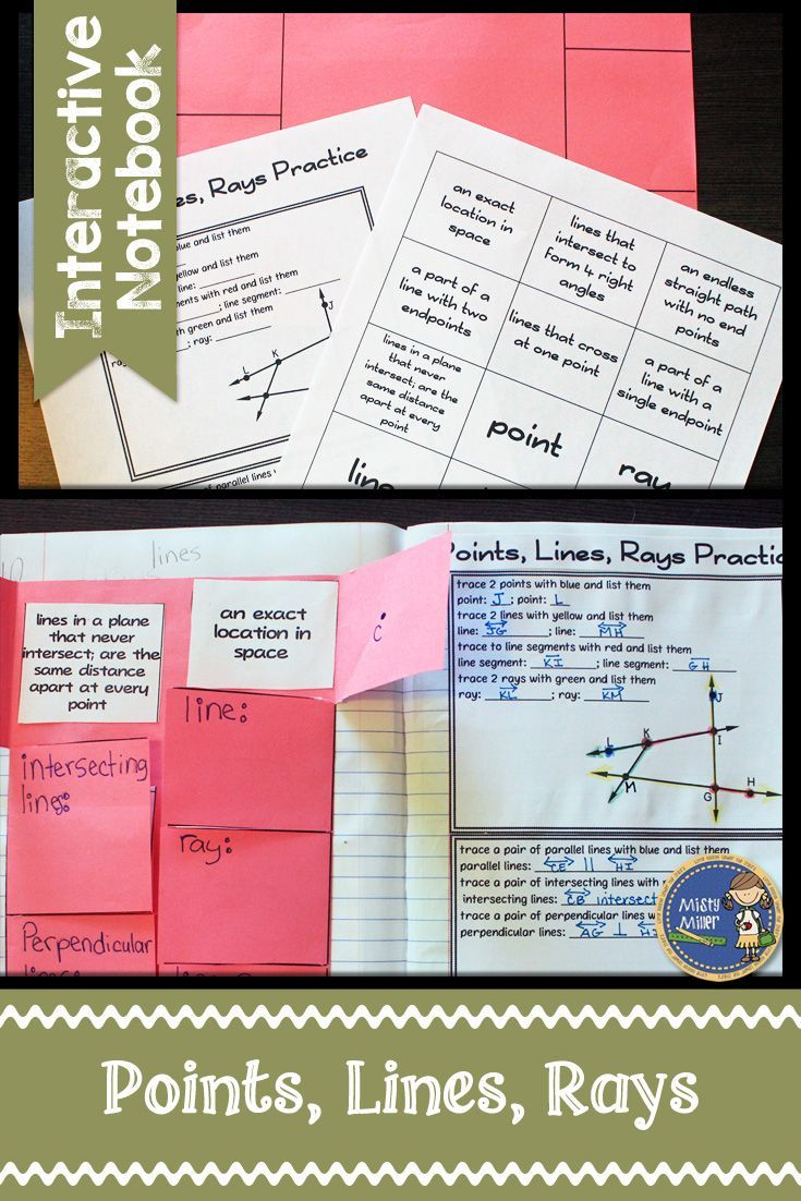 Points, Lines, Rays Interactive Notebook includes a foldable sheet for note taking, a sheet of pre-typed notes, a practice sheet, and example answer key. These work great in interactive math notebooks. $ gr 4-7