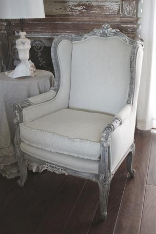 seam ruffle idea and  grey distressed finish on the wood.: Bloom Cottages, Wings Chairs, Shabby Chic, Cottages Linens, French Country, Cushions Covers, French Chairs, Wingback Chairs, Full Bloom