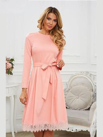 65660c5dc5 Elegant Lace Joint Hem Long Sleeve Midi Dress