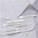Personalized Dress Shirt Collar Stays - Secret Message