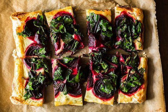 Three-Cheese Hearty Greens And Puff Pastry Tart Recipes — Dishmaps