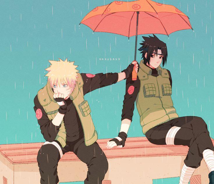 NARUTO, Uchiha Sasuke, Uzumaki Naruto, Rain, Crossed Legs