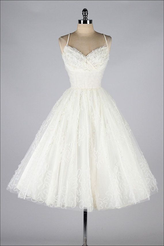 Vintage 50's Ivory tulle, spaghetti strap and sequin detailed wedding dress