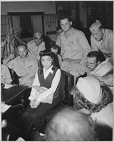 """WWII: """"Tokyo Rose"""" with Press (NARA) September, 1945"""