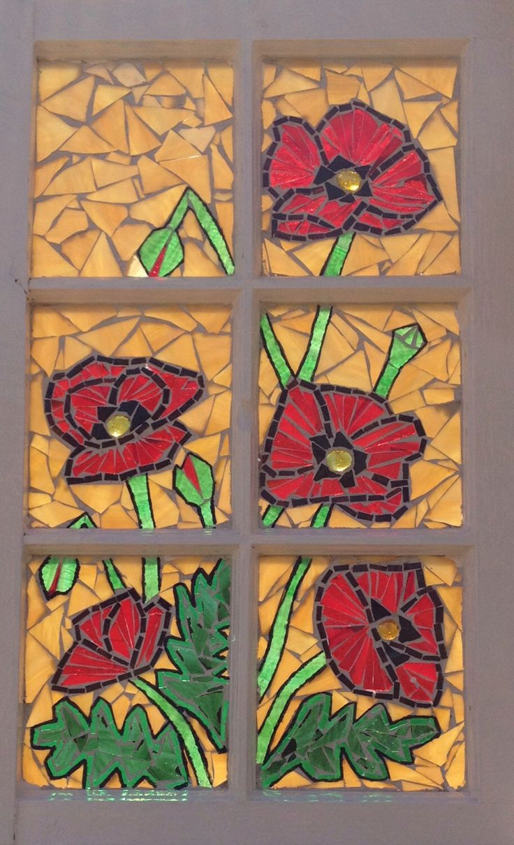 poppy stained glass mosaic artwork vintage recycled window red poppies repurposed window stained glass window stained glass poppy