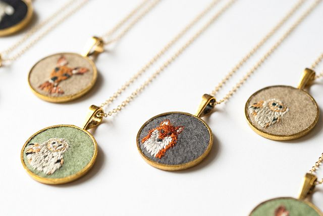embroidered animals pendants