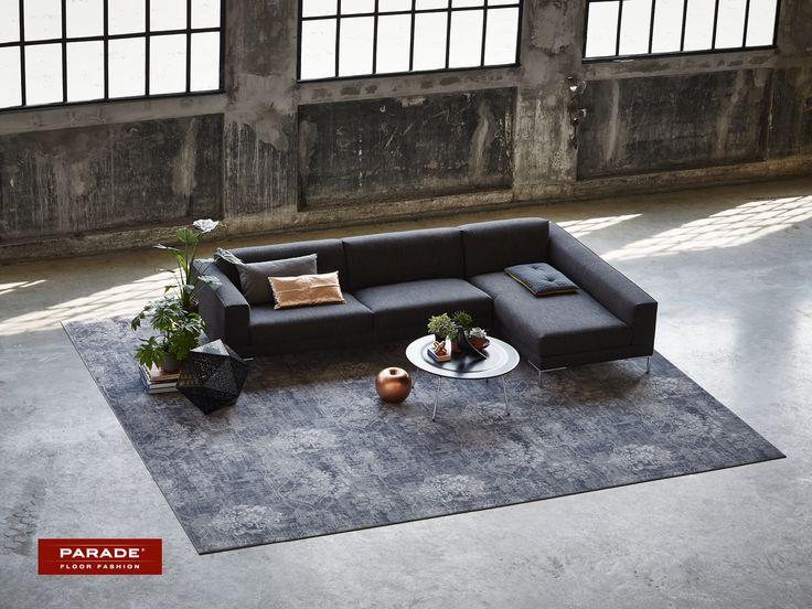 Zorg voor een stoer effect met een tapijt met stonewashed look.