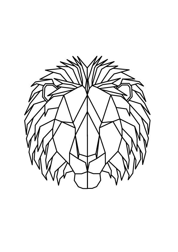 Geometric Lion print,wall art, geometric design, male lion, abstract art, printable, animal, digital downloads by SquareRootDesign on Etsy