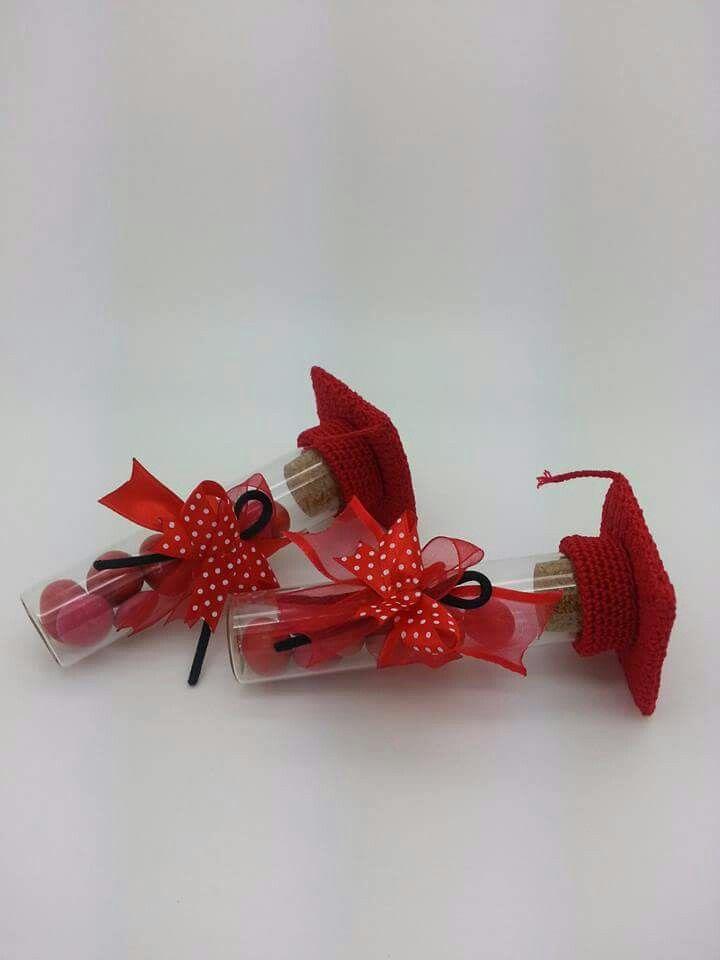 Bomboniere per laurea - tocco rosso - Porta confetti di vetro Bicolino shop