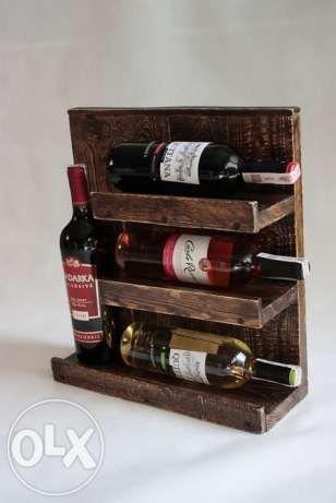 """Półka na wino """"Mini"""" - z desek z palet rustykalna Czerwionka-Leszczyny - image 1"""