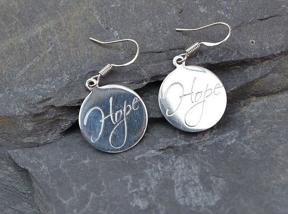 Silver earrings with Hope or Love engraved