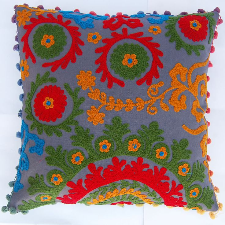 Cotton Suzani Embroidered Work Designer Cushion Cover 16x16'' Pillow Covers Case #KhushiHandicraft