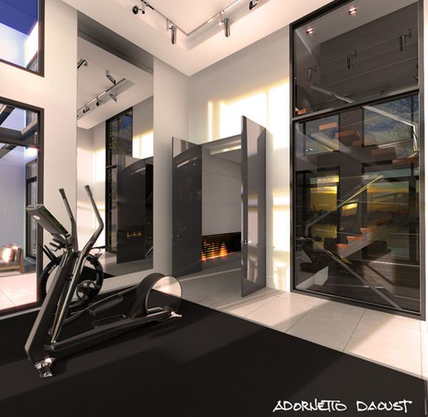 Contemporary home gym in black for the minimalist home for Modern home gym