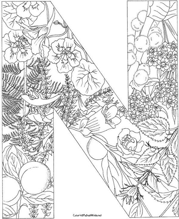 Letter N With Plants Coloring Page From English Alphabet Category Select 25960 Printable Crafts Of Cartoons Nature Animals