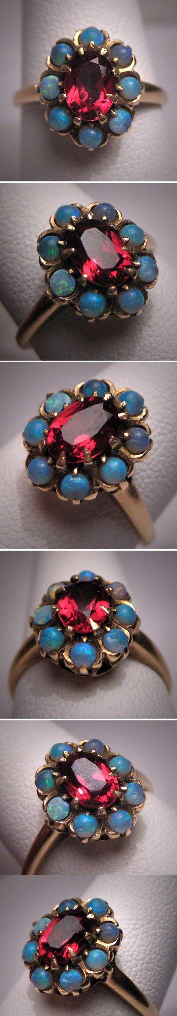 Antique Opal Garnet Ring Gold Vintage Victorian Wedding $895