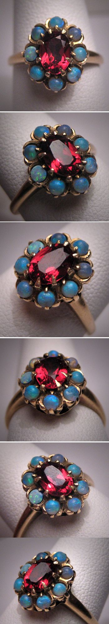 Antique Opal Garnet Ring Gold Vintage by AawsombleiJewelry on Etsy, $895.00