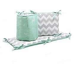 Mint Green Forest Animal and Grey Chevron Baby Crib Bumper by The Peanut Shell