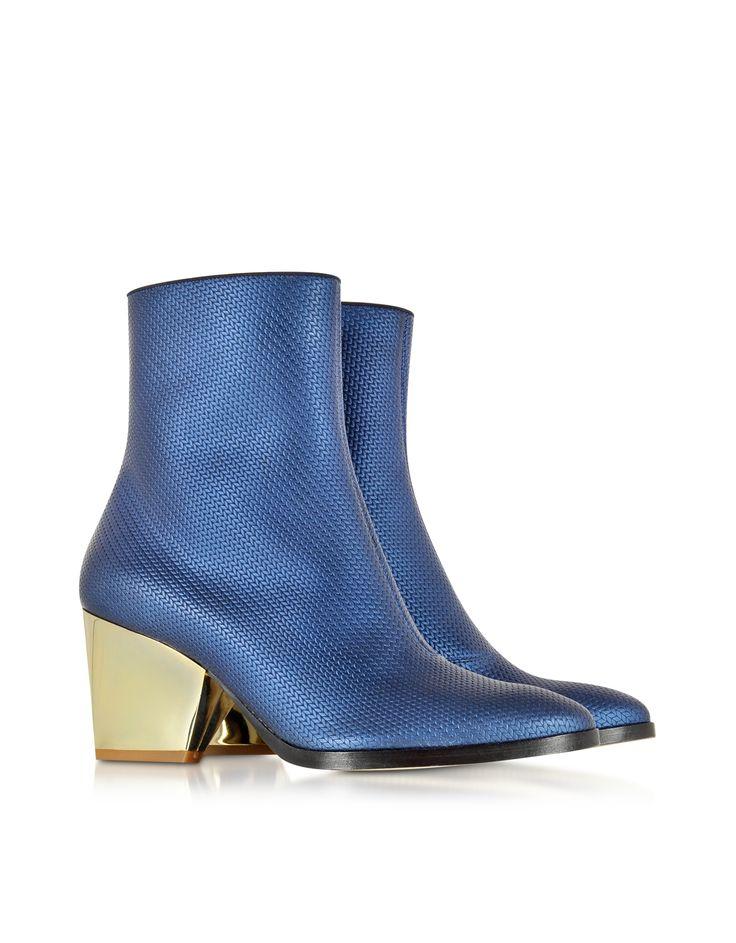 Zoe Lee Addis Bluette Embossed Leather Bootie 5.5 US | 3 UK | 36 EU at FORZIERI