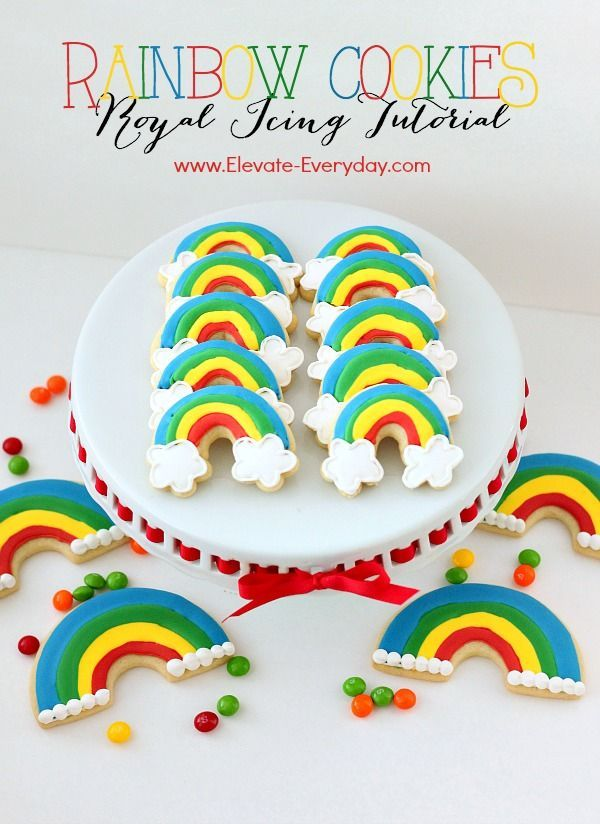 """Rainbow Cookies   Royal Icing Tutorial and FREE """"lucky' printable for teacher, neighbor and friend from @elevateeveryday (scheduled via http://www.tailwindapp.com?utm_source=pinterest&utm_medium=twpin&utm_content=post1546667&utm_campaign=scheduler_attribution)"""