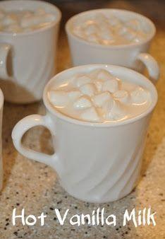 Hot Vanilla Milk - 1 cup milk, 1 1/2 tablespoons sugar (i used half brown sugar, half white sugar), pinch of salt, 2 teaspoons vanilla
