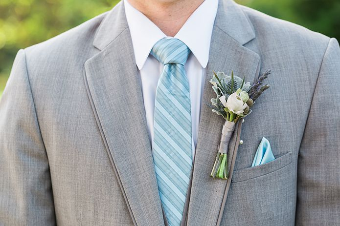 Maravilla Gardens Wedding Groom Boutonniere with a once upon a time colored tie, Camarillo wedding, grey suit, grey wedding suit, summer wedding, summer wedding suit, Anne Barge wedding gown, vintage wedding decor