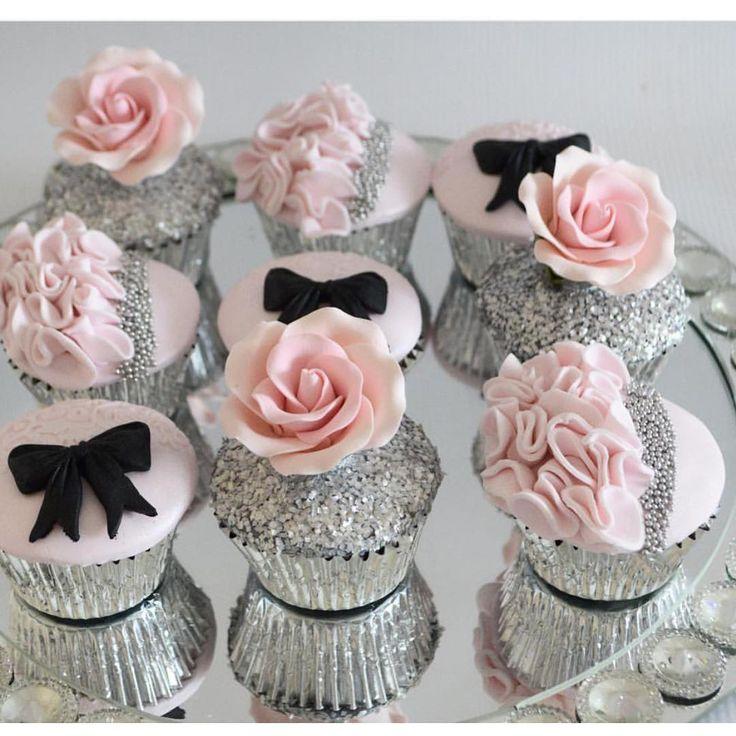 Pink, Silver, Black Cupcakes