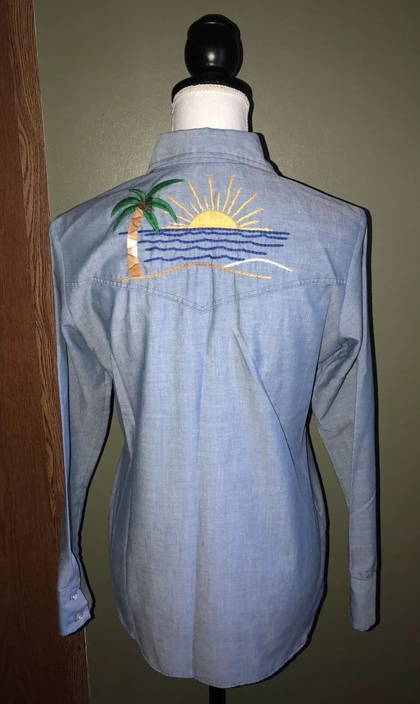 bdefb706 Vintage Womens WRANGLER Chambray Embroidered Button Up Shirt Size 36 | eBay