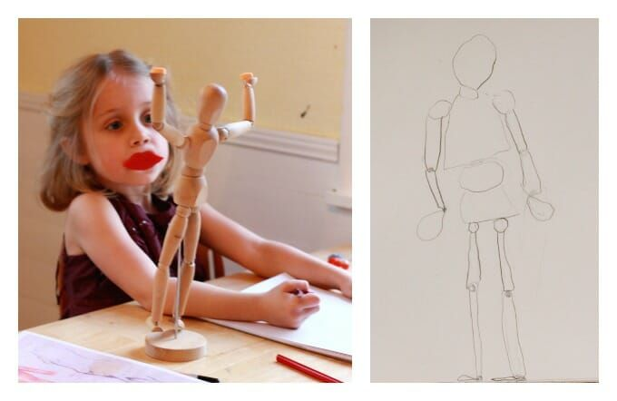 Drawing the Human Body for Kids from a Wood Mannequin