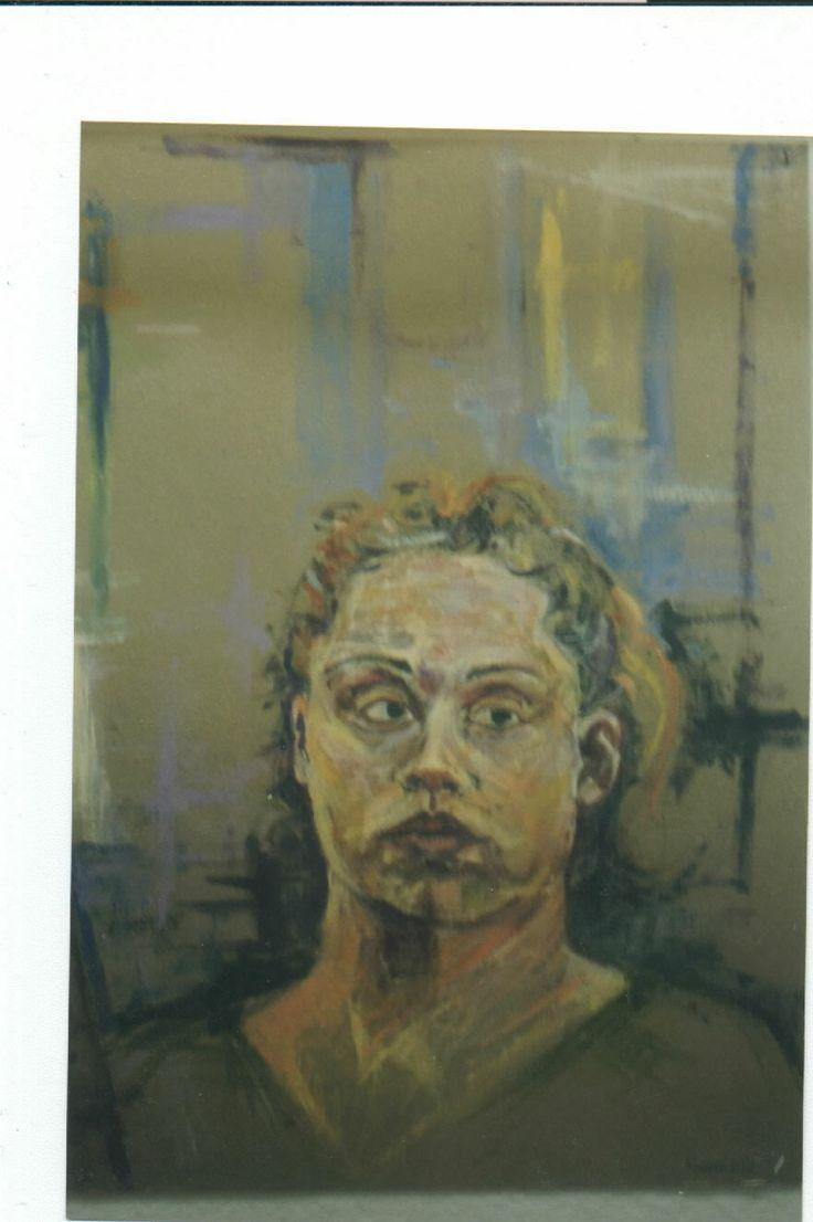 Acrylic on chip board-Self Portrait-Andrea Mekas
