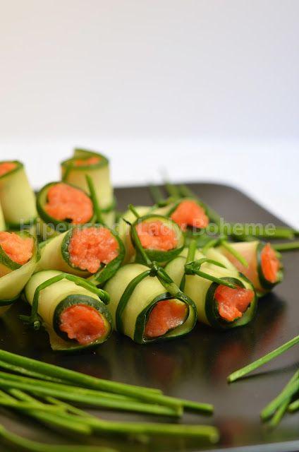 Rouleaux de concombre fourrés au saumon fumé