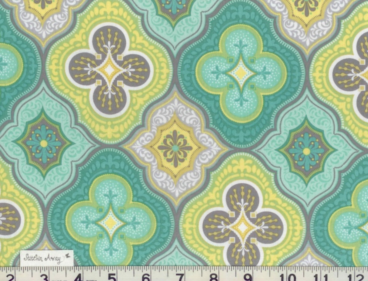 Fat QUARTER MORACCAN Medallion Fabric Set New 100% Cotton Quilting Sewing Teal Gray Aqua Yellow Lime Green. $5.95, via Etsy.