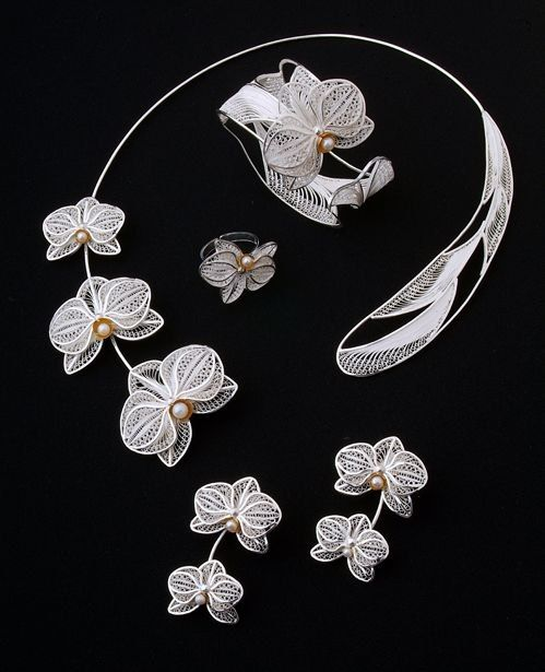 Wire Weave Orchid Jewellery set. Wire wrap. MK. Ideas. Examples. | VK