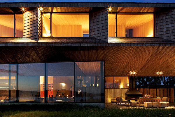 Stunning Modern Hotel with Glass Façade Design: Fancy Modern Hotel In Chile Lighting Side View Open Terrace