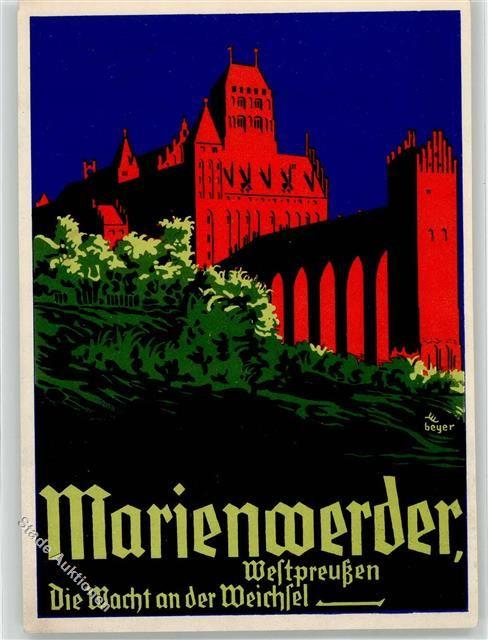 Marienwerder Künstlerkarte Propaganda WK II sign. Beyer Die Wacht an der Weichsel WK II: Ansichtskarten-Center Onlineshop