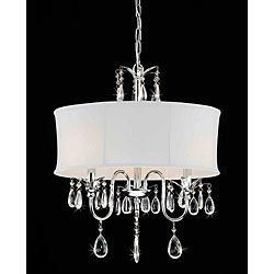 Sale $122.39  Compare $189.99  Save $67.60 (36%) Item #: 12253207  Add a touch of elegance to your home decor with this beautiful three-light chandelier. This light fixture features a shade fabric and stunning, dangling crystal accents....more