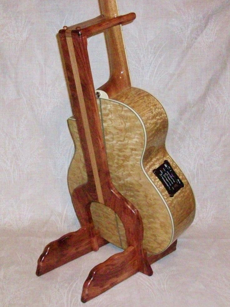 Custom wood guitar stand bubinga with mahogany accent