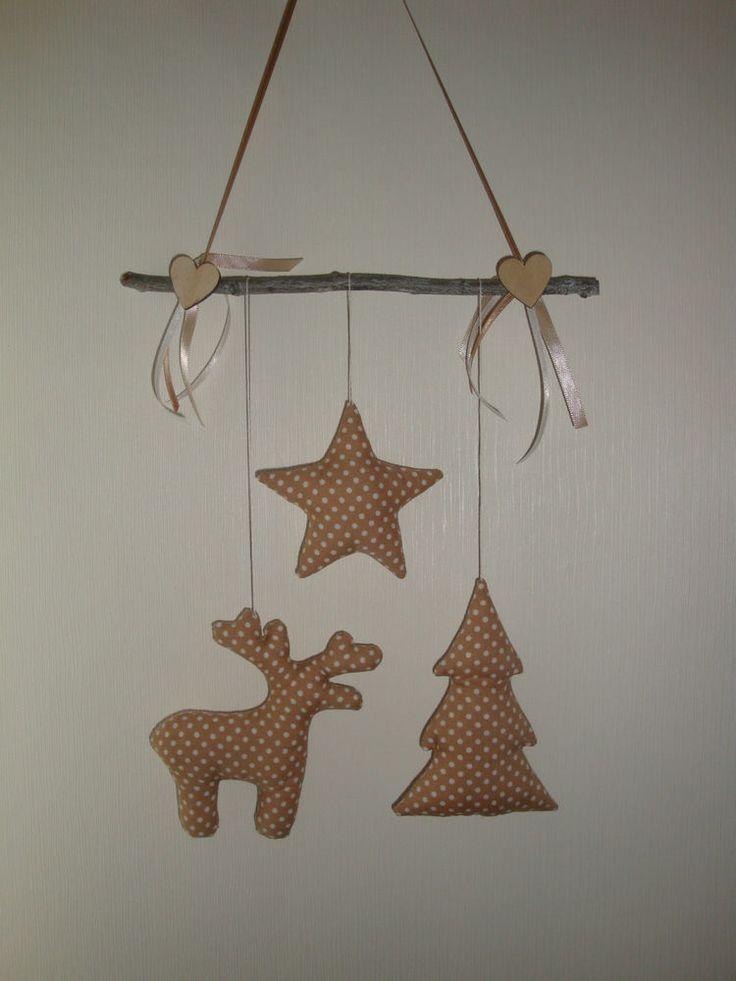 Girlande Mobile Elch Baum Tilda-Stern Weihnachten Winter NEU Handarbeit Beige 1