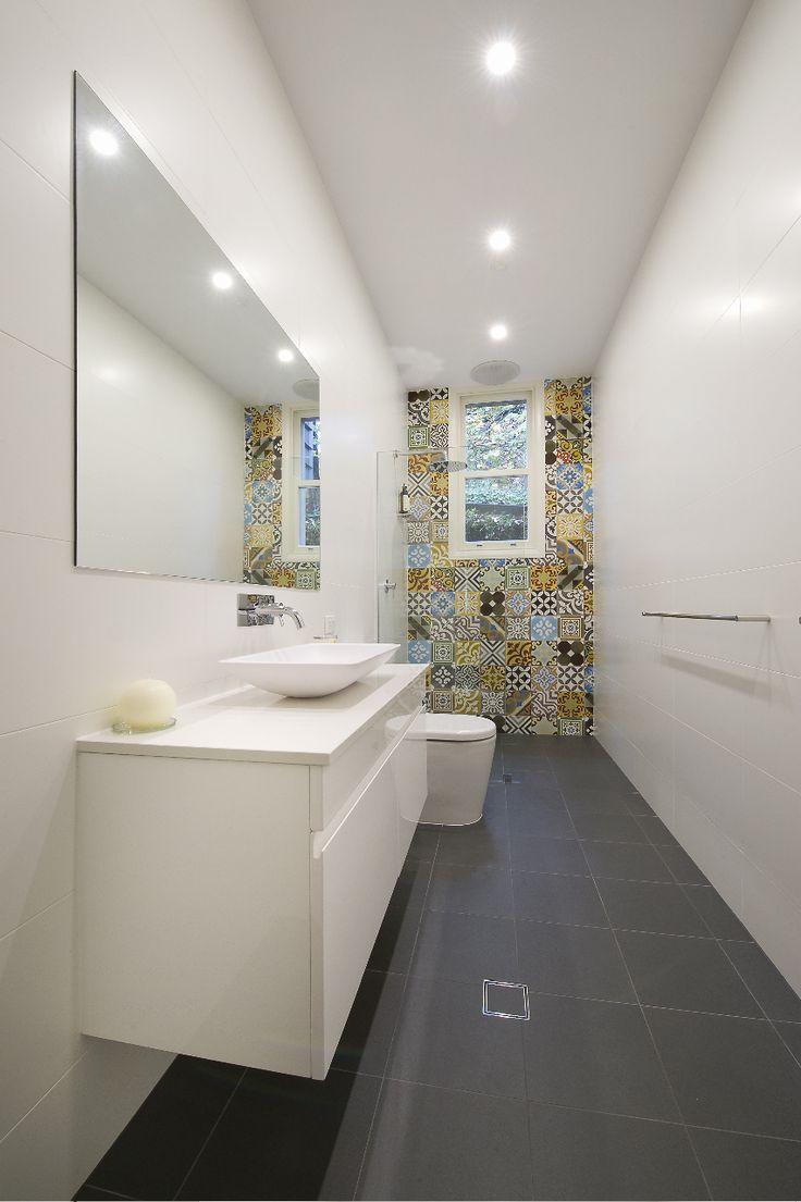 Thin bathroom vanity - Long Narrow Bathroom With Tiled Feature Wall Around The Window Bathrooms