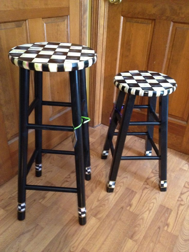 "Hand Painted Black and White Checked Bar Stool - 24"". $99.00, via Etsy."