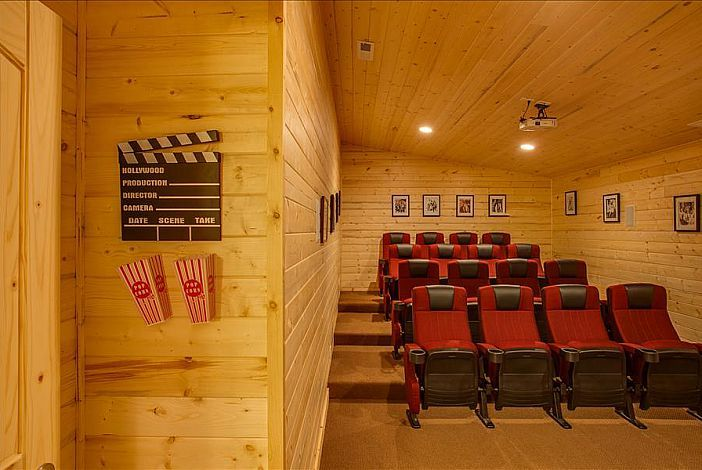 Included in this amazing home is a 16 person private theater and a game room #inspirationlodge #BrunnersLodge #Leavenworth