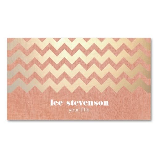 Gold Chevron Pattern and Peach Linen Look Hip Business Cards. This great business card design is available for customization. All text style, colors, sizes can be modified to fit your needs. Just click the image to learn more!