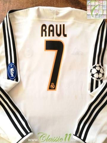Official Adidas Real Madrid home long sleeve football shirt from the 2003/04 European Cup tournament. Complete with Raul #7 on the back of the shirt, Champions League star-ball and 9 times winners patches on the sleeves.
