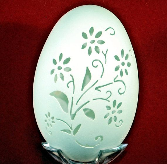 Hand Carved Goose Egg  Wild Flowers by 1eggman on Etsy, $15.00