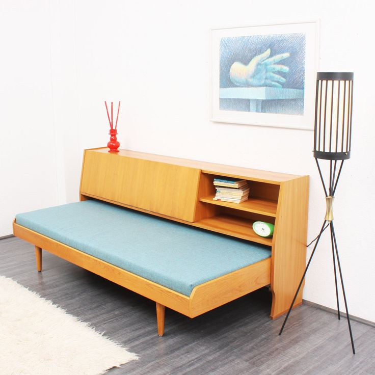 1960s Elm Wood Daybed with Storage Space