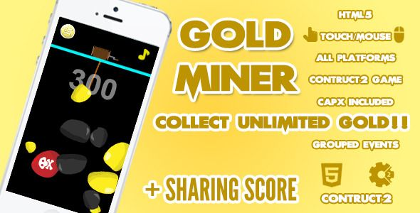 Gold Miner Game + Share Score . Gold Miner, a game to dig out the gold and make a lot of