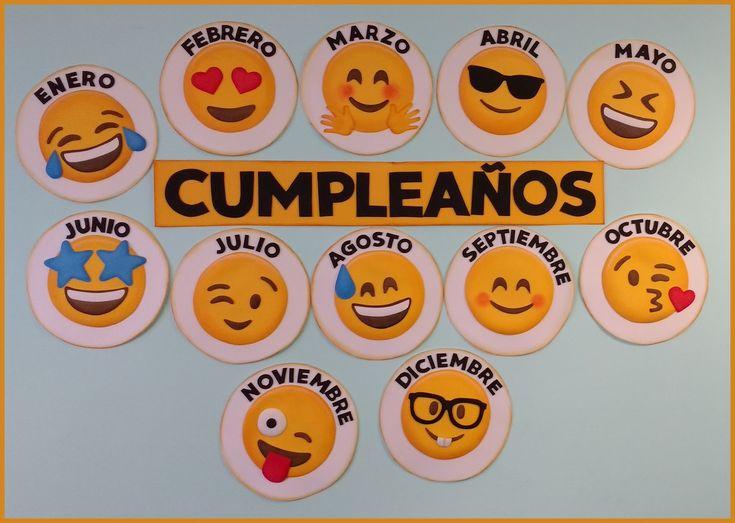 Cumpleaños con la temática de emojis para adornar la sala de clase, cada circunferencia mide 27cm, para que se pueda colocar el nombre o la ...