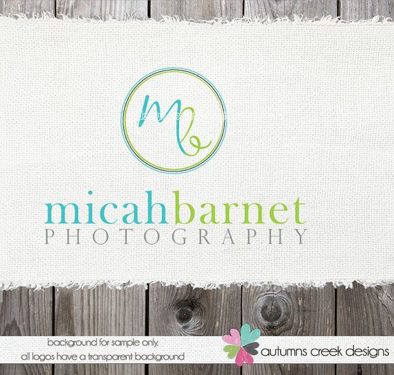 premade Logo Design Hand Drawn Initials in a Circle Premade Photography Shop Logo Watermark Design