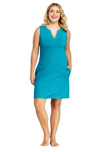a0a4090b42 Women's Plus Size Cotton Jersey Sleeveless Tunic Dress Swim Cover-up from  Lands' End